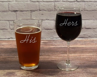 His and Hers Glasses, His Hers Glasses, His Hers beer wine, His Beer, Hers wine, Beer and Wine Gift, Wedding Glasses, Wedding Gift