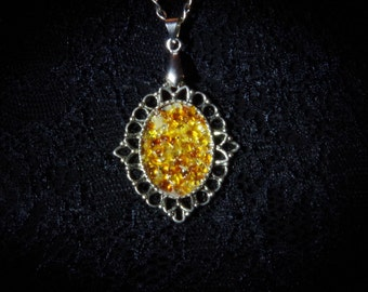 Handmade Baltic amberdust pendant necklace