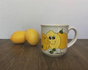 Retro Mug, Coffee Cup, Nancy Lynn, Lemon Mug, Collectible Mug, Tea Cup, Nancy Lynn Mug, Retro kitchen, 70's Mug, Orchard Lemon Mug, Citrus