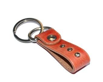 Red Leather Keychain / Leather Key Holder, Leather Wristlet Keychain / Key Ring, Leather Key Fob, Mens Keychain, Leather Key Chain