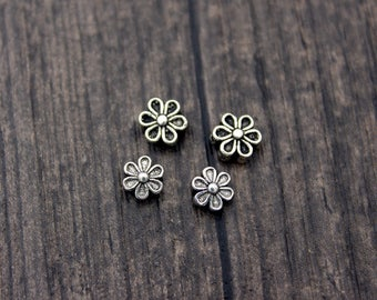 4pcs Sterling Silver flower beads,silver flower spacer bead,flower bead spacers,sterling silver bead, silver spacer bead