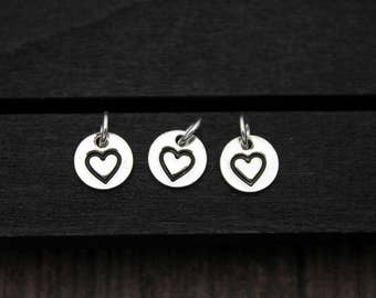 4PCS Sterling Silver Love Charm,Sterling Silver Love Heart Charm, Bracelet charms