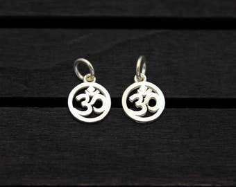 2 Sterling Silver OM Charms, Yoga charm,OM charm, Yoga Jewelry