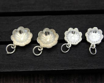 2 sterling silver lotus leaf charm, sterling silver lotus leaf pendant,Silver leaf pendant,lotus leaf necklace,yoga jewelry