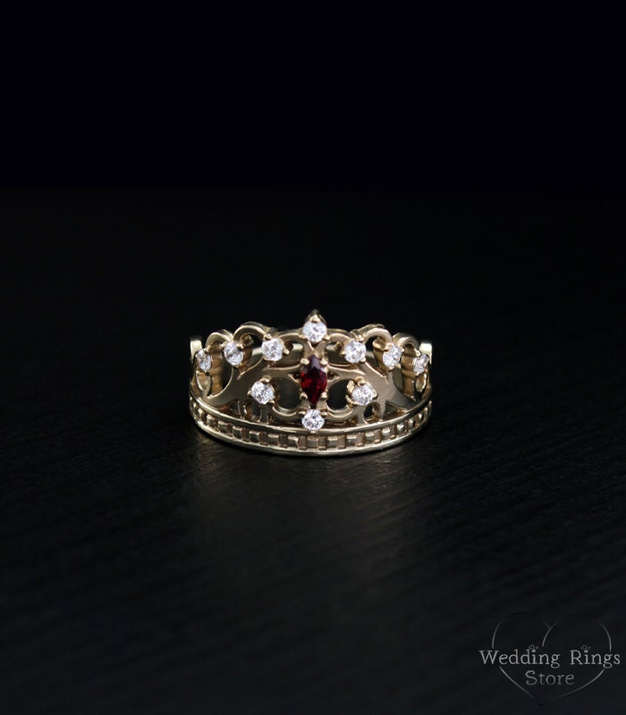 gold crown ring princess tiara ring crown unique ring