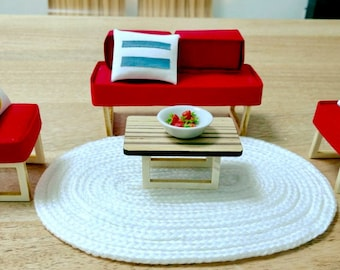 Modern Miniature Dollhouse Living Room Set 1:12 Scale