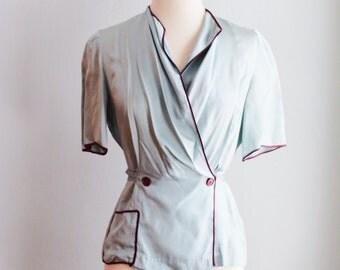 """1930's Silk Art Deco Evening Blouse/Bust 34""""-36""""/Waist 32"""""""