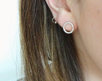 Circle Stud Earrings - Sterling Silver Circle Earrings - Small Silver Circle Earrings - Silver Hoop Studs