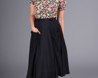The Seamstress of Bloomsbury 'Thelma' Skirt in Black by The Seamstress of Bloomsbury