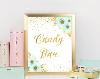 Mint and Gold Candy bar sign, Dessert sign, Mint bridal shower sign, Candy buffet,Bridal Shower Decorations,Printable sign, ConfM