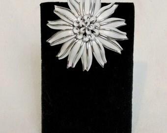 Trifari Enamel White and Silver Flower Brooch