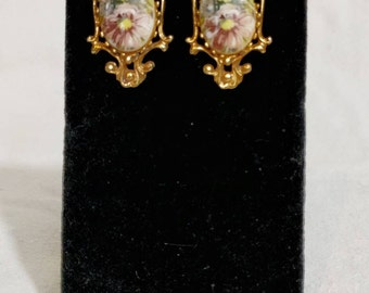Florenza Floral and Gold Painted Earrings
