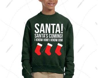 "Unisex - Men/Women/Youth - Premium Retail Fit ""Santa's Coming! I know him!"" Buddy the Elf - Will Ferrel - Crewneck Sweatshirt"