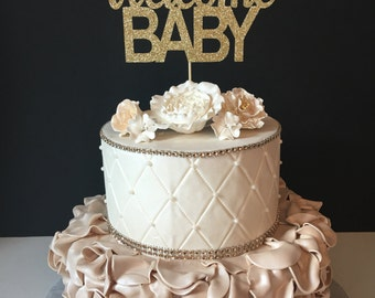 Welcome Baby Cake Topper, Baby Shower Cake Topper, Gold Glitter Baby Topper, Gender Nuetral Cake Topper