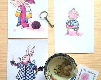 Alice in Wonderland, the White rabbit and Cheshire cat bundle