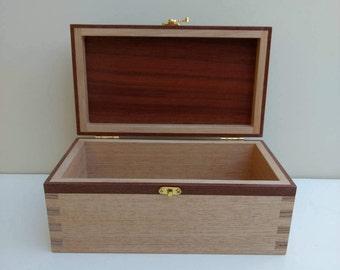 Keepsake Box / Memory Box - Handmade from reclaimed Australian Oak with inset Jarrah lid and inlaid Jarrah strip