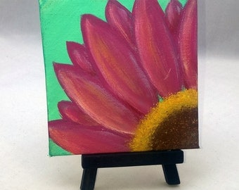 Just a Daisy - Small Art Inspirational Painting with Desktop Easel 4 x 4 inch