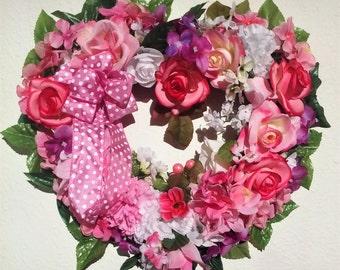 Pink Wreath-The SWEETHEARTS WREATH-Valentines Day Wreath-Spring Wreath-Rose Wreath-Heart Wreath-Decorative Wreath-Interior/Door Wreath