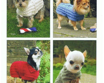 Knitting Pattern for Dog Coat , Dog Sweater ,Very  Small Dog Coat , Chihuahuas , Knitted Dog Coat Pattern KP 06
