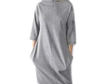 Grey Cotton Heavier Weight Jersey Minimalist Oversized Women's Dress With Pockets And Asymmetric Collar
