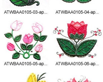 Deco-Tulips-Applique ( 10 Machine Embroidery Designs from ATW )  XYZ17E