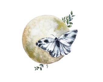 Moon Butterfly Art Print, Gold, Art Decor, Boho, Marinoscreations, Space Art, Giclee Art Print