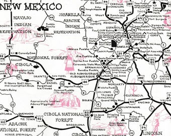 New Mexico Vacation Map, 1961 Vintage Maps