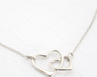 Gift for Mom from Daughter Necklace, 2 Two Hearts Necklace, Sterling Silver Heart Necklace, Interlocked Heart Necklace for Mom