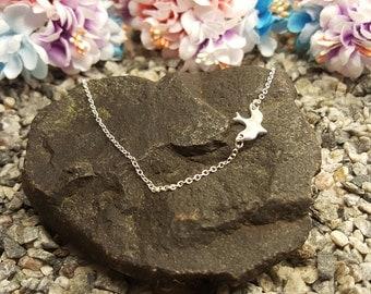 Sideways bird charm, Dove necklace, sparrow necklace, flying bird necklace, small bird necklace, for dainty jewelry, love birds necklace