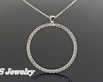 Circle necklace, eternity circle  of life necklace, ring karma necklace, Sterling Silver Circle pendant set with 44 5A CZ.