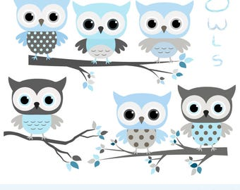 Cute Baby Shower Clipart Decoration, Baby Boy Clipart, Blue Gray Baby Boy  Owl Clip