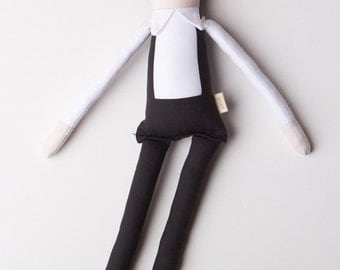 Rockabilly, Country Icon Johnny Cash Cloth Doll: Handmade with eco-friendly materials OOAK