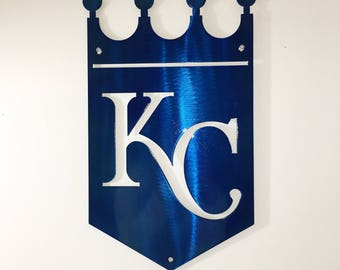 "Metal KC Kansas City Royals Crown Sign 20"" 18"" 14"" 12"" Wall Art, Home Decor, Baseball, Steel 14ga, Clear or Blue Powder Coat"