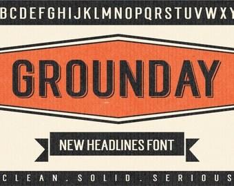 Grounday Typeface, Display Font, Sans Font, Headlines Font, Branding Font, Poster Font, Digital Font Download