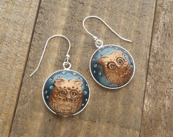 Owl Earrings - Brown Owl - Autumn Earrings - Handmade Polymer Clay Silver Earrings by LittleMillieShop