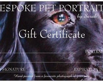 Custom Pet Portrait, Original watercolour painted from your photographs, made to order, GIFT CERTIFICATE