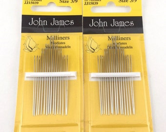 John James Needles: Silk Ribbon, Milliners, Beading (Curved, Long, Short, Medium) in various sizes