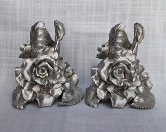 Fantastic 1 1/2  lb Cabbage Roses Candle Holders, Set of 2 Pewter Candlesticks, Vintage 1991 Seagull Pewter Canada Candle Holder