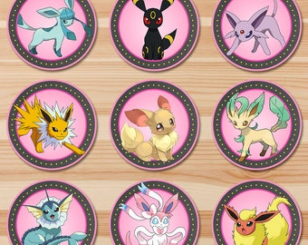 Pokemon Eevee Evolutions Cupcake Toppers - Pink Chalkboard - Girl Pokemon Eevee Toppers - Pokemon Party - Pokemon Sticker Printables