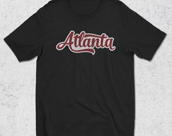 Atlanta Black Graphic Tee - Atlanta Vintage Script Tshirt - Atlanta gifts - Atlanta T-Shirt - Mens Clothing - Mens Graphic T-Shirt