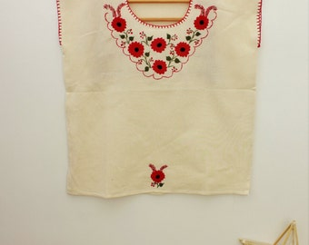 Embroidered Red Flowers/MEXICAN BLOUSE