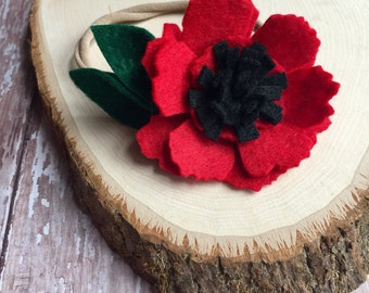 Felt Flower Nylon Headband - Red Poppy Flower Headband - Dainty Flower Headband - Felt Poppy Headband