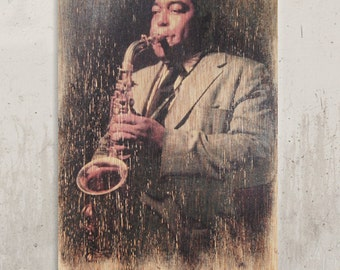 Charlie Parker - Legend of Jazz / / Transfer on wood