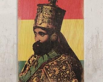 Haile Selassie - Jah Rastafari / / Transfer on wood