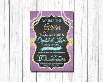 BABY SHOWER BRUNCH, Twins Baby Shower Invitation, Twin Girls Invite, For Twin Girls, Purple, turquoise