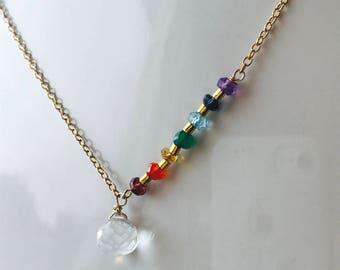 Yoga Necklace Chakra Necklace Healing Necklace 7 chakra Necklace  Genuine Gemstone Necklace Quartz Necklace Boho Necklace Chakra Crystals