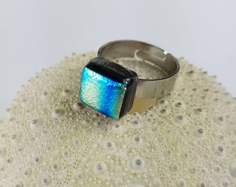 Blue and Gold Dichroic Stainless Steel Ring, Fused Glass Ring, Dichroic Glass Ring on Adjustable Stainless Steel Band by AMEArtistry2017