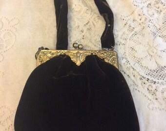 Vintage Brown Velvet Purse Handbag Evening Bag Clutch