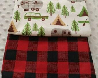 Gender Neutral Burp Cloths, Camping Burp Cloths, Retro Camper Burp Cloth, Flannel Burp cloths, Trendy Burp Cloths, Burp Cloth Set, Red Plaid