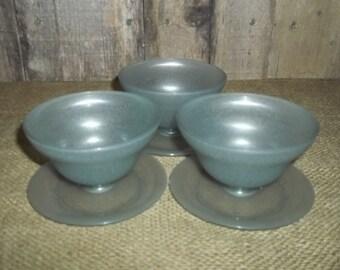 Vintage Set 3 Smokey Gray Tupperware Dessert Cups Bowls